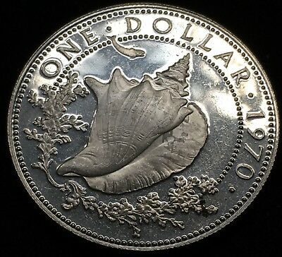 Great 1970 Bahamas 1 Dollar Coin. Awesome Proof Silver Coin!