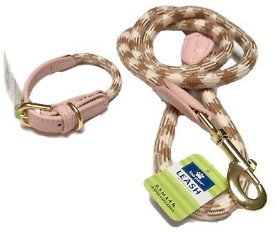 Dog Collar and Leash Set Walking Safety Lead Adjustable Pink Cream Rope XS M
