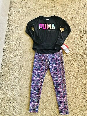 Girls 6 NEW Two Piece Puma Colorful Athletic Outfit NWT Dri Fit