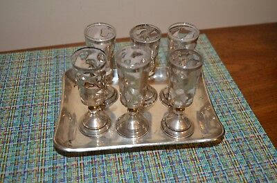 Mexican Sterling Tray With 6 Shot Glasses