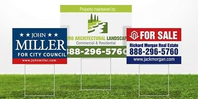 50 Yard Signs Custom Double Sided & Stakes 2 Color