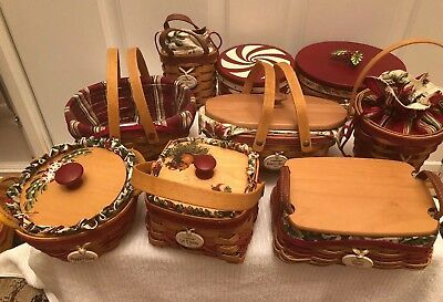 Longaberger Lot of 9 Tree Trimming Christmas Baskets Combo Sets