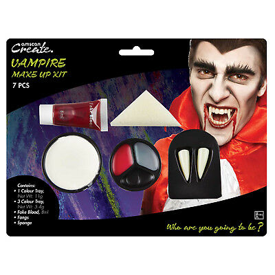 Horror Vampiro Kit Trucco Dracula Sangue Finto Denti Halloween Pittura Viso
