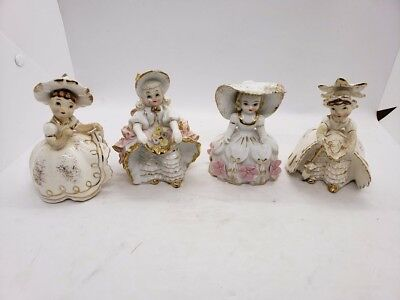 Set Lot of 4 Vintage Lefton Witches Angels Flower Girls Figurines Pixie Nice!