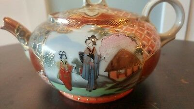 Antique Japanese Pottery Satsuma Porcelain Teapot Signed