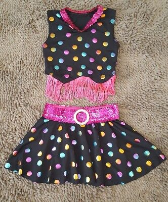 Black Polka Dot 2pc Pagent/Performance Outfit*Size 4t/5t*EUC