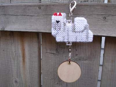Maltese w/ Red bow dog crate tag hang anywhere handmade pet art sign ornament