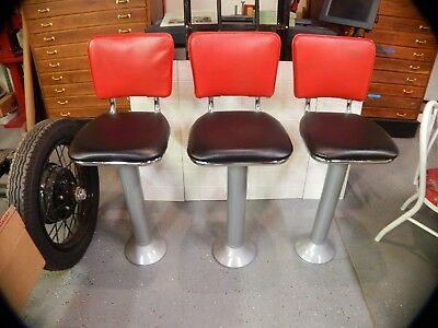 Vintage Soda Fountain ice cream stools- refurbished  LOT OF 3 WITH BACKS Diner