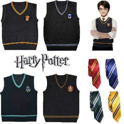 Harry Potter Vest Tie Gryffindor Wool Sweater School Uniform Fancy Dress Costume
