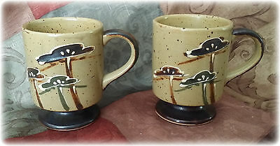 Lot of 2 Vintage Pedestal Mugs/Cups Tan w/ Speckles & Darker Base with Flowers