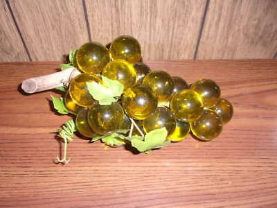 Vintage Green Lucite Grape Cluster On Driftwood