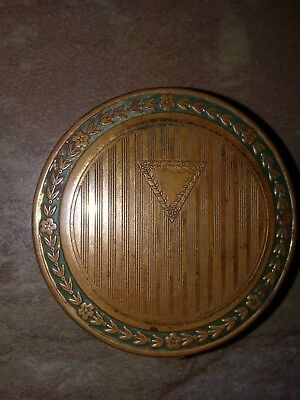 Antique Djer-Kiss Gold Tone DUAL Compact w- Fold Out Mirror. Unpatented.