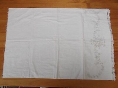 Unworked Vintage Stamped Pillowcase To Embroider. Floral Design