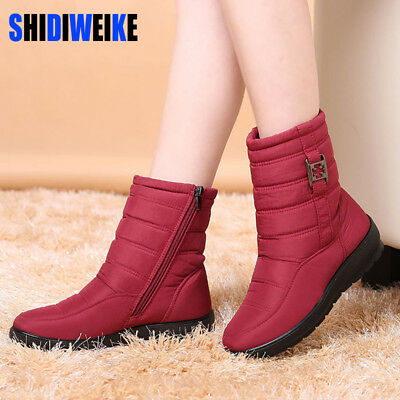 Snow Winter Boots Shoes Warm Zipper Fashion Buckle Flat Ankle High Nylon Shaft