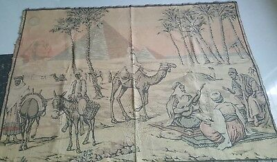 "Antique 19c Aubusson Egypt style  Tapestry 50""×69""""(cm127×175) Beautiful real"