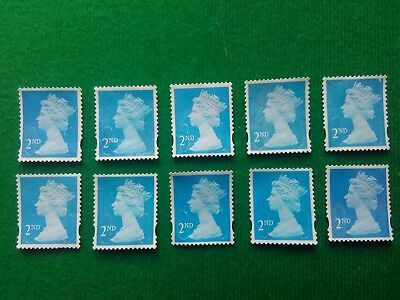 10 2nd class stamps unfranked off paper no gum uk free post good quality