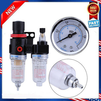"1/4"" Oil Water Lubricator Trap Air Compressor Filter Regulator Gauge 140psi MY"