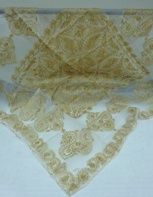 Small Pretty Embroidered Tablecloth Gold Thread Sheer Fabric Antique Vintage