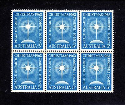 1963 ***MUH*** 5d BLUE  CHRISTMAS - BLOCK of 6 - STAMPS NEAR CENTRED - SUPERB.