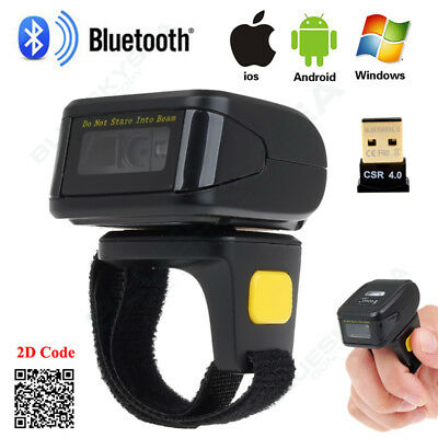 Wireless BTOOTH 4.0 Barcode Scanner Reader Wearable For Apple IOS Android Win