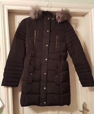 BNWOT - V by VERY -  Girls Lovely Black Winter Coat Jacket Hood Size 11-12 years