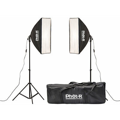 Phot-R Photography Studio 2x 50x70cm Softbox Continuous Lighting Light Stand Kit