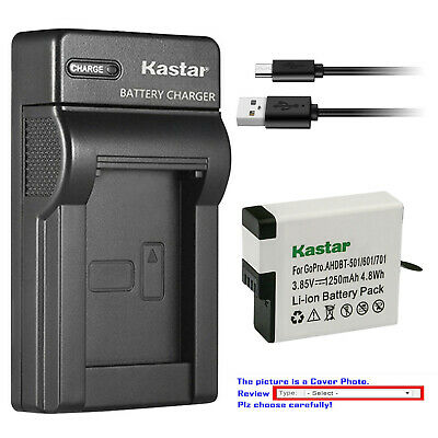 Kastar Battery Slim USB Charger Replace Genuine Gopro AHDBT-501 Hero 5 HD Black