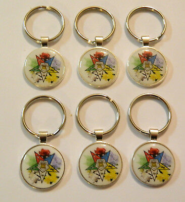 6   Eastern Star  Key Chains  Sterling Silver Plated #3
