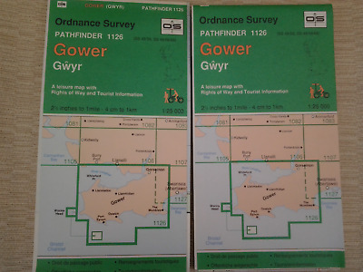 2x Old Ordnance Survey Folded Maps of the GOWER GWYR Large Area 25K Pathfinder