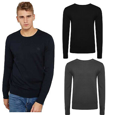 New Mens Crew Neck Jumper Fine Knitted Long Sleeve Round neck Pullover Sweater