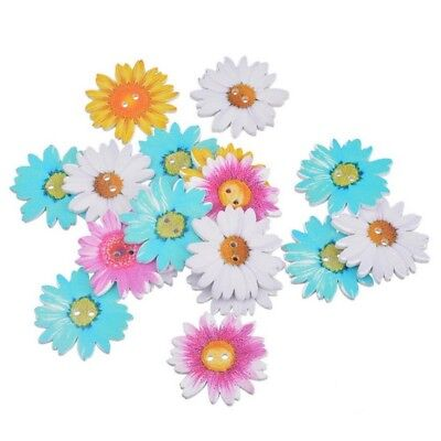 Random Color Mixed Sewing 2 Holes 50pcs Scrapbooking Buttons Wooden Flower