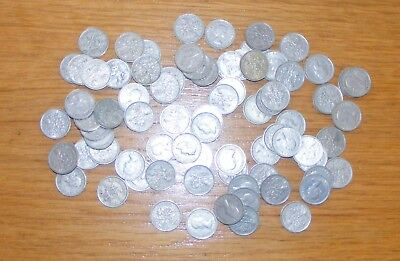 Mix bag of 75/80 British Silver Sixpence Coins - assorted dates (unchecked)