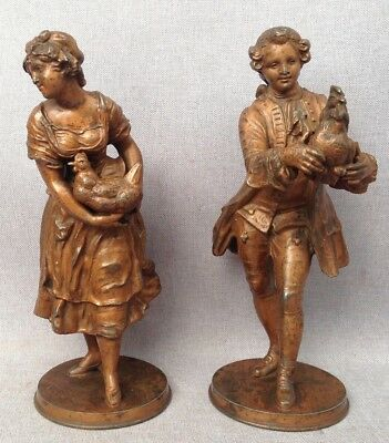 Pair of antique Art-Nouveau sculptures made of regule late 1800's lord chicken