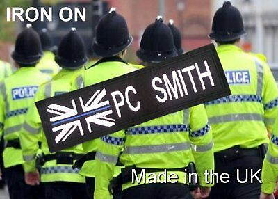 Iron On Thin Blue Line White Union Jack Police Name  Badge / Patch ,,