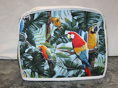 Parrot Toucan Macaw Birds cotton fabric Handmade 2 slice toaster cover (ONLY)