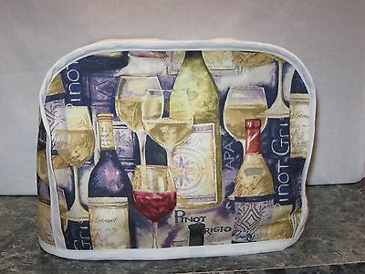 Wine bottles & glasses cotton fabric Handmade 2 slice toaster cover (ONLY)