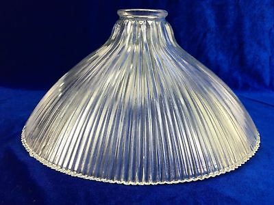 Vintage Frilled  Clear Glass Lamp Shade With Frilled Edge Retro Lightshade