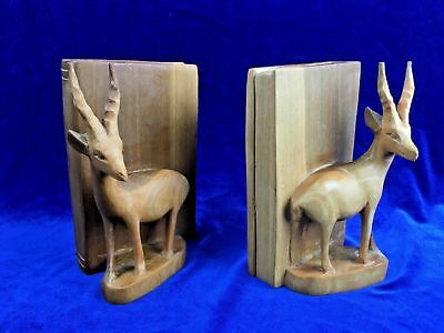 Vintage AFRICAN IMPALA Hand Carved Wood Book Ends Wooden Study Den Decorative