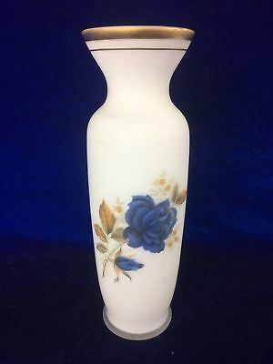 Retro / Vintage White Gold Flashed Glass Round Vase Floral Blue Roses