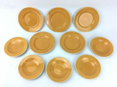 10 Piece Bread and Saucer Plate Set England 4-71 Retro Orange Mustard 1960's