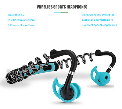 Wireless Sports Headset Bluetooth 5.0 Earbuds Sweatproof Extra Bass Stable Fit