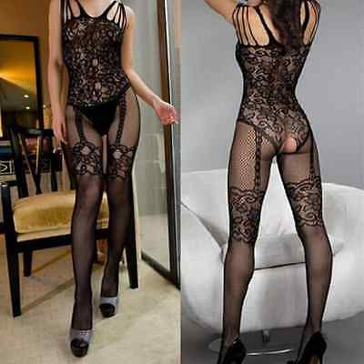 Super Sexy Lingerie Bodystocking Mesh Open Crotch Suspender Babydoll Catsuit UK