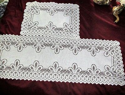 Vintage lace Table runner & Matching Smaller Rectangle Doily