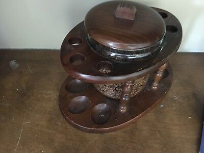 Wooden Tobacco Pipe Stand With Humidor