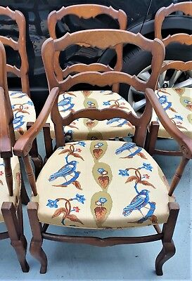 (6) Vtg Meldan Furniture Co French Provincial Ladderback Dining Chairs Louis XV
