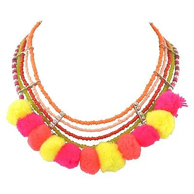Ornamenta Fashion Beaded Choker Necklace with Pompoms Glass Beads for Girls