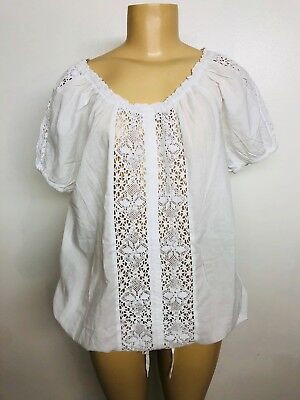 8a42d3861d8 New White Crochet Lace Peasant Cotton Blouse Shirt Summer Top Boho Plus 1X