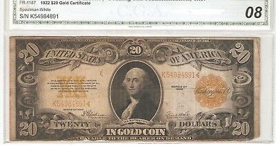 FR. 1187 $20.00 1922 Gold Certificate circulated condition