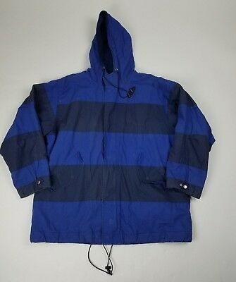 Brooks Brothers Mens Coat Size Large Blue Striped Hooded Long Sleeve