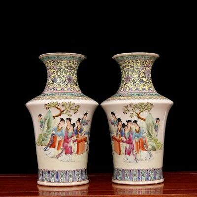 A pair China old porcelain jingdezhen famille rose Hand painting Maid vase